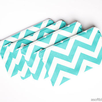 Set of 4 Custom Flat Clutch Zipper Pouch Makeup Bags - damask, chevron, leopard, zebra, polka dot, bridesmaid, wedding, MADE TO ORDER