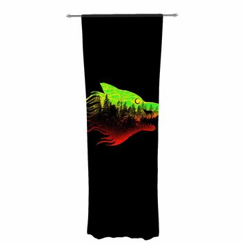 "BarmalisiRTB ""The Wolf-Colors"" Black Green Digital Decorative Sheer Curtain"