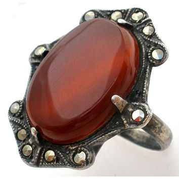 Art Deco Carnelian Ring Sterling Silver