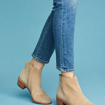Anthropologie Scalloped Ankle Boots
