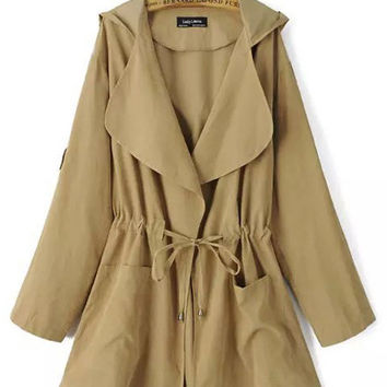 Long Sleeve Notched Collar Drawstring Waist Hooded Trench Coat