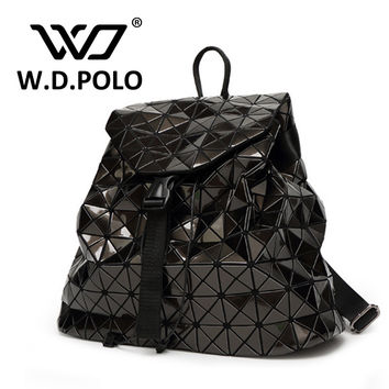 W.D. POLO Women's PVC Leather high chic brand design backpack easy matching lady hand bags bling reflecting school bags M2286