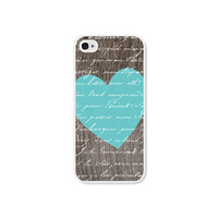 Heart Apple iPhone 5 Case - Plastic iPhone 5 Cover - Wood iPhone 5 Skin - Turquoise Blue Brown Woodgrain iPhone Case