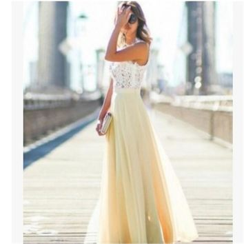 Women's Long Dress Lace Chiffon Party Formal Bridesmaid Prom Ball Gowns Dresses