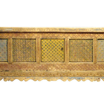 Chinese Vintage Xin Jiang Carving Color Low TV Table Cabinet cs1145S