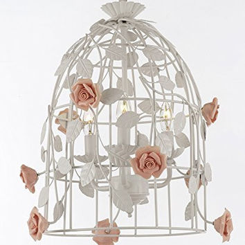 """Wrought Iron Floral """"Bird Cage"""" Chandelier Flower Chandeliers Lighting H 17"""" X W 14"""" - Perfect For Kids' And Girls Bedrooms! - G7-2203/3"""