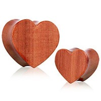 Organic Red Cherry Wood Heart Saddle Plug by Every Body Jewelry