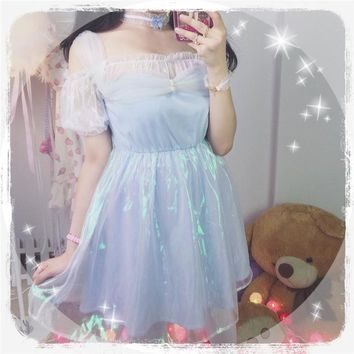 Anime Fro-zen Elsa Princess Adapted Daily Dress Cute Sweet Girls Summer Lolita Off-shoulder 2 Layers One-Piece Fairy Kei Sexy