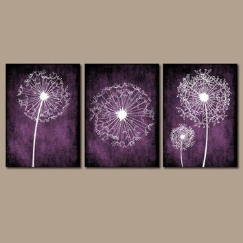 DANDELION WALL ART, Purple Bedroom Wall Art, Dandelion Canvas or Prints, Purple Bathroom Decor, Dandelion Pictures, Set of 3 Wall Decor