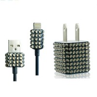 2pc Set Wall Charger + Cable for Iphone 5, 5s - Rhinestone Diamond Bling (Black)
