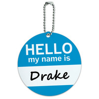 Drake Hello My Name Is Round ID Card Luggage Tag