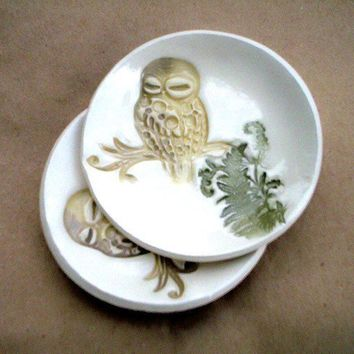 Ceramic Set of TWO Tiny Owl  Anything Bowls by dgordon on Etsy