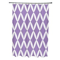 e by design Geometric Fabric Shower Curtain (Purple)