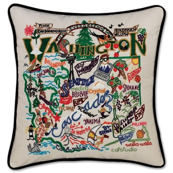 Washington State Hand Embroidered Pillow