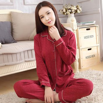 2017 Autumn New arrival women cotton pyjamas long sleeve nightdress two-pieces big size v neck breathable pajamas set home wear