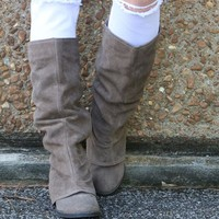 NAUGHTY MONKEY Arctic Solstice Taupe Genuine Suede Tall Equestrian Boots