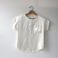 vintage boxy cream - white blouse. satin cropped minimalist top + cap sleeves.