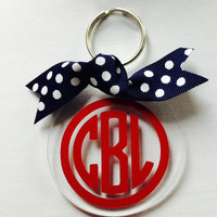 Personalized Monogram Keychain - 3 inch Acrylic Circle Keychain - with Ribbon - Perfect for Gifts or For Yourself