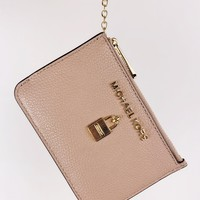 Michael Kors Jet Set Travel Zip Coin Wallet ID Keyring Card Holder Fawn