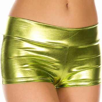 Green Lime (Metallic) Solid Color Booty Shorts