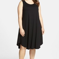Plus Size Women's Eileen Fisher Jewel Neck Jersey Flare Dress,