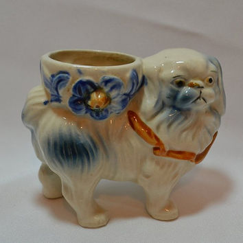 Pekingese Dog Figurine Planter Pottery Made in Japan ADORABLE!