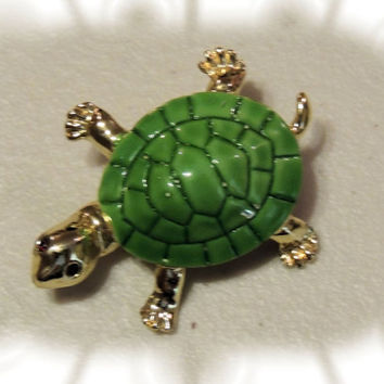 Turtle Brooch, Green Enameled Shell,vintage jewelry