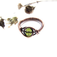 green crystal ring, rustic wire wrapped copper ring, green elvish jewelry