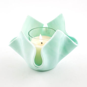 Mint Green Fused Glass Candle Holder, Small Bud Vase, Votive Candle, Tea Light Holder, Pastel Home Decor, Modern Design, Unique Gifts