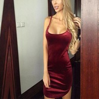 Dress Women Round Neck Wine Red Sleeveless Velvet Dress Ladies Sexy Spaghetti Strap Bodycon Club Party Dresses Summer