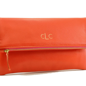 Citrus Orange Monogram Clutch