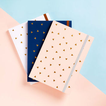 FREE SHIPPING - Triangle Gold Foil Journal-Notebook-Writing Journal-Diary-Bridesmaid Gift-Travel Planner-To do List- Daily Planner-2015/2016