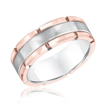 TRITON White Tungsten Carbide Rose Rim Comfort Fit Band - Size 10