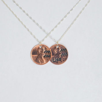 Aquarius Necklace, Aquarius Pendant, Birthday Necklace, Birthday Necklace, Aquarius Birthday, Lucky Penny, Penny Necklace, Birthday Gift