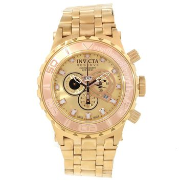 Invicta 14032 Men's Subaqua Reserve Rose Gold Bezel Gold Plated Steel Bracelet Chronograph Dive Watch