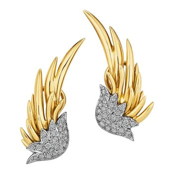 Tiffany & Co. Schlumberger Diamond Gold Flame Earrings