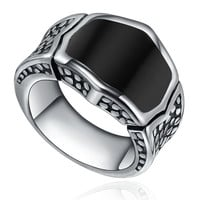 Stainless Steel Vintage Black Enamel Ring