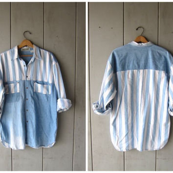 Vintage Striped Denim Shirt Faded Blue & White Jean Shirt Light Wash Faded Denim Hipster Button Up BUGLE BOY Shirt Preppy Large XL