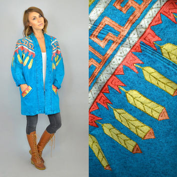 vtg 80s TURQUOISE hand painted metallic scroll feathers ACID WASH denim jacket, extra small-medium