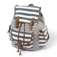 Mixed Stripe Canvas Backpack