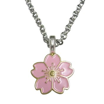 Pink Cherry Blossom Flower Pendant Necklace