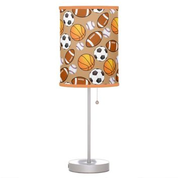 Sports football, soccer ,basketball Brown Shade Table Lamp