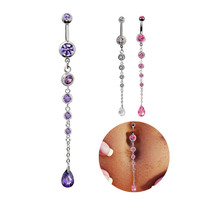 New Charming Dangle Crystal Navel Belly Ring Bling Barbell Button Ring Piercing Body Jewelry = 4672664708