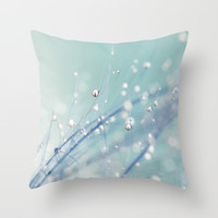 Dreamy Feather Drops Throw Pillow by Sharon Johnstone