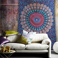 Popular Handicrafts Hippie Mandala Bohemian Psychedelic Intricate Floral Design Indian Bedspread Magical Thinking Tapestry 54x84 Inches,(140x210cms) Blue