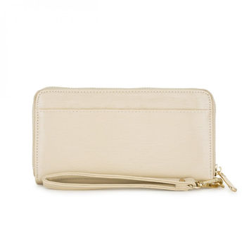 Kate Beige Faux Textured Leather Clutch