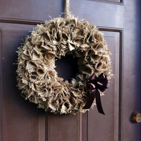Burlap Fall Wreath for Front Door Wall or Mantle