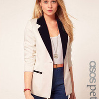 Vogue OL Long Sleeve Lapel Splicing Business Suit Blazer Decorated Pockets Hot