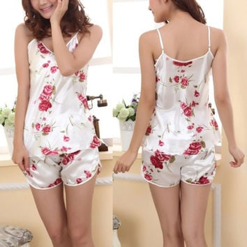 2pcs Ladies Sexy Sleepwear Pajamas Set Blouse Shirt Shorts Underwear(One size) (Size: S) = 1932855620