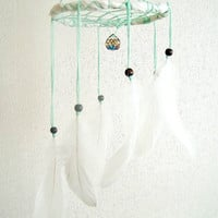 White Baby Nursery Mobile - White  Nights - Childrens Baby Crib Mobile with Sparkling Crystal Prism and White Swallow Feathers - Home Decor